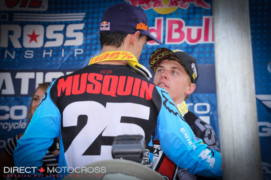But a champion doesn't stay down long. He showed class and gave an authentic congratulations to series winner #1 Jeremy Martin on the podium.