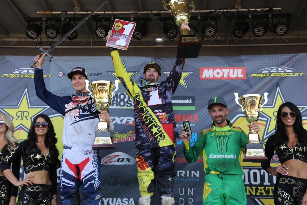 2015 MX1 Overall Podium: Matt Goerke (527), Colton Facciotti (521), Brett Metcalfe (482).