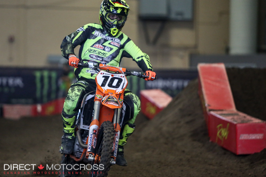 #10 Redemption Racing Fly Dragon KTM's Nathan Bles threw his hat in the ring and looked pretty comfortable at his first arenacross. His best was 6th in Friday's AX Pro class.