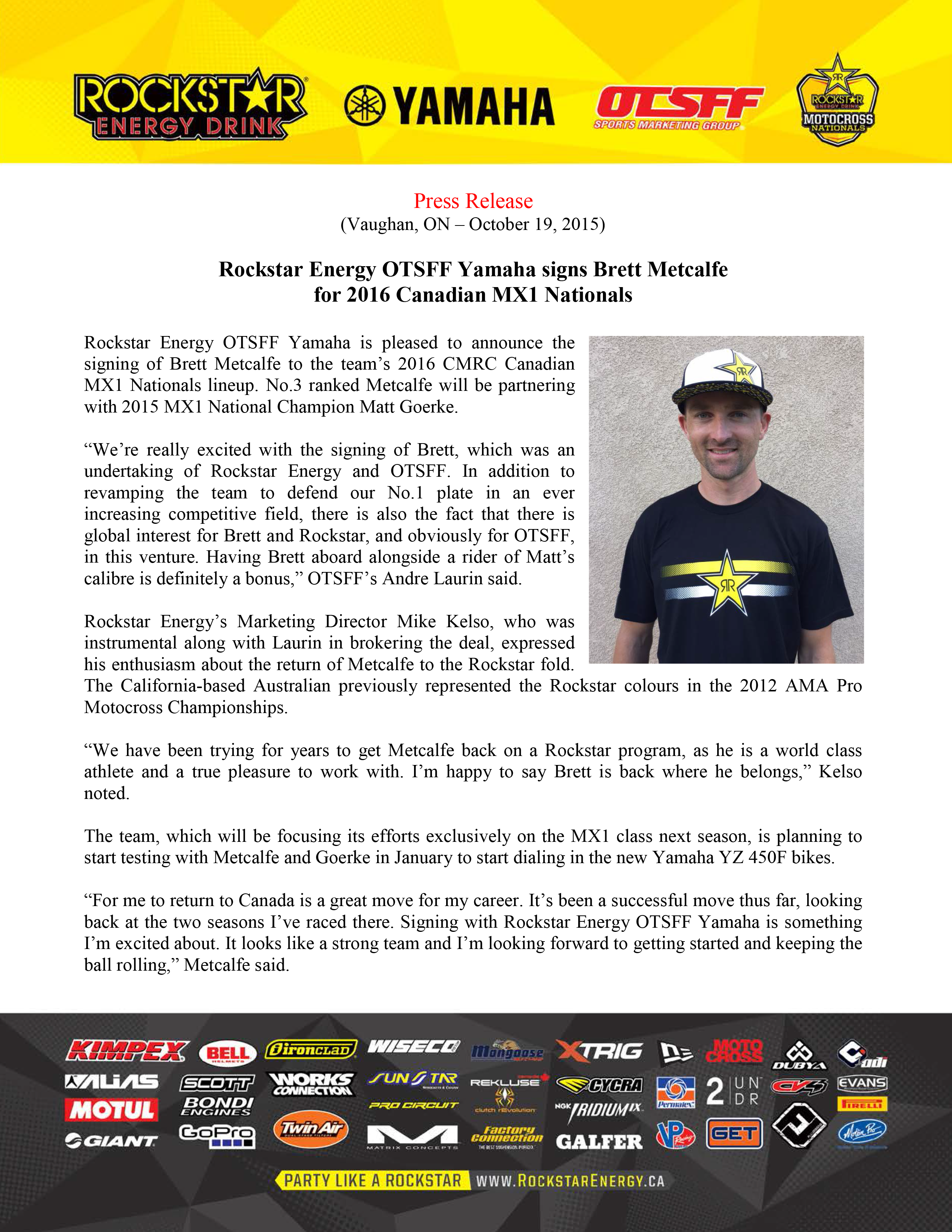 Rockstar Energy OTSFF Yamaha - Press Release - Oct 19-1