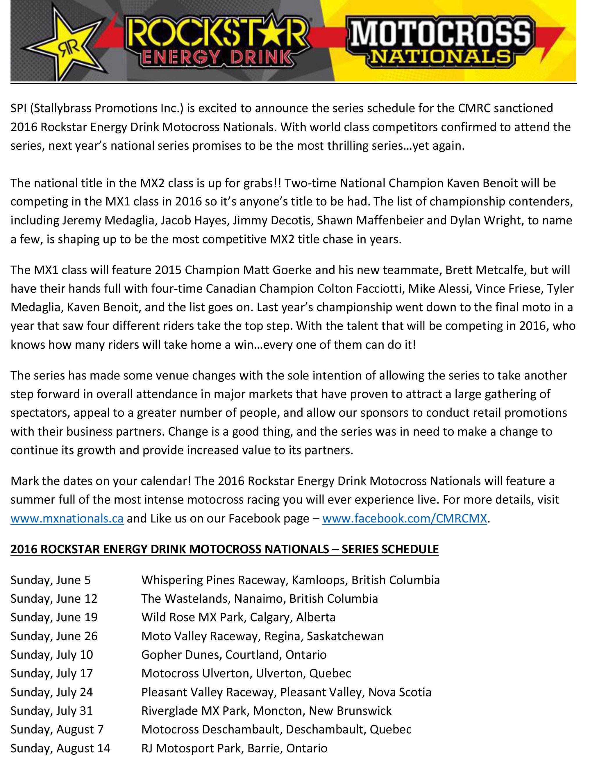 2016 National Schedule PR