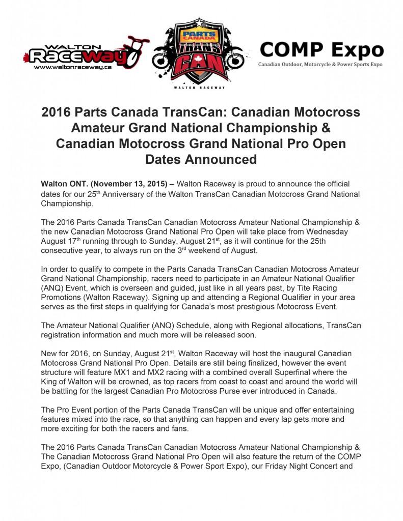 2016PartsCanadaTransCan-CanadianMotocrossAmateurGrandNationalChampionshipCanadianMotocrossGrandNationalProOpenDatesAnnounced