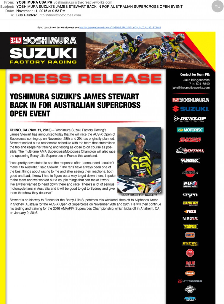 YOSHIMURA SUZUKIS JAMES STEWART BACK IN FOR AUSTRALIAN SUPERCROS